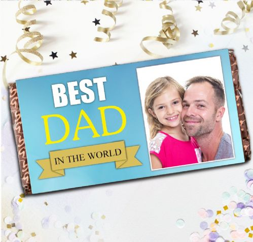 Personalised Fathers Day Milk Chocolate Bar - Best Dad Happy Fathers Day Photo Gift N81